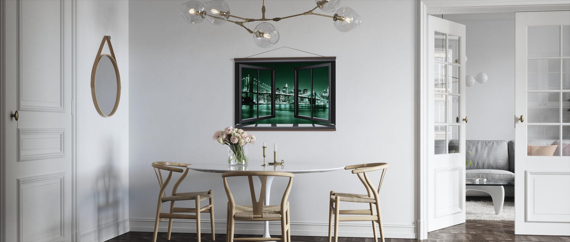 Brooklyn Bridge Through Window - Green - Poster - Kitchen