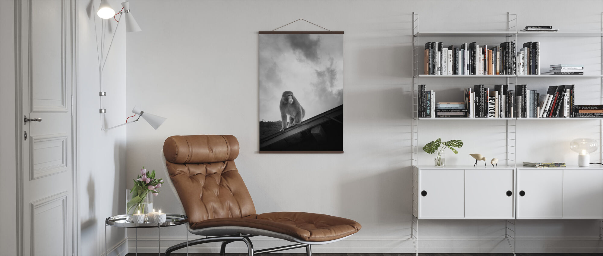 Macaque on Roof - Poster - Living Room