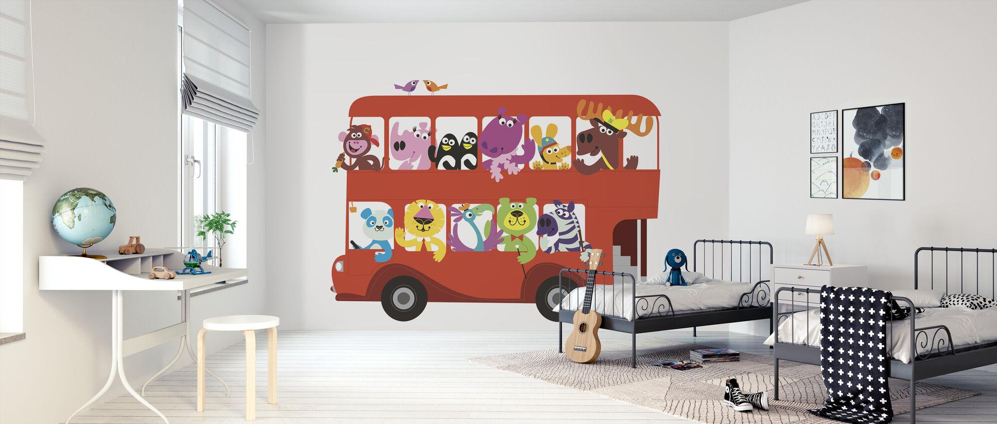 All on Board the Marsh Mellow Island Bus - Wallpaper - Kids Room