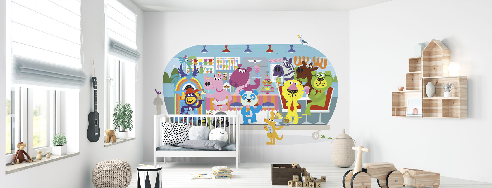 Hauskan rakastava Betsys Hippo Hop Diner - Tapetti - Vauvan huone