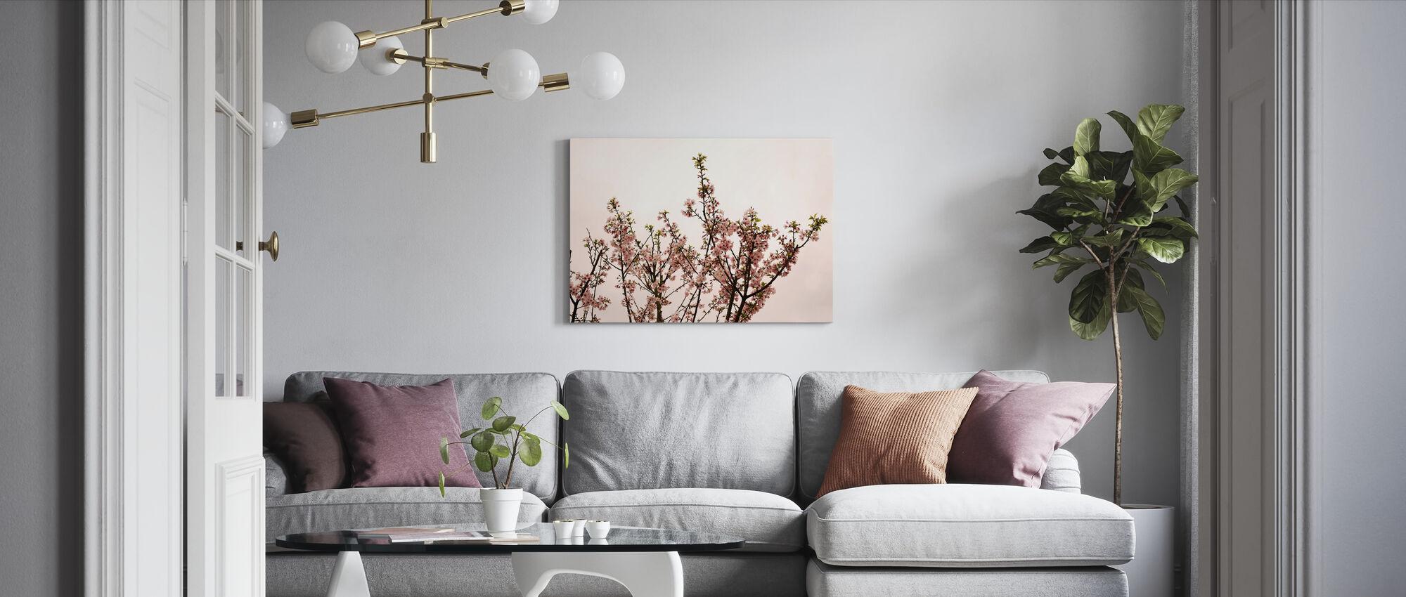 Sakura Blossom against Pink Sky - Canvas print - Living Room