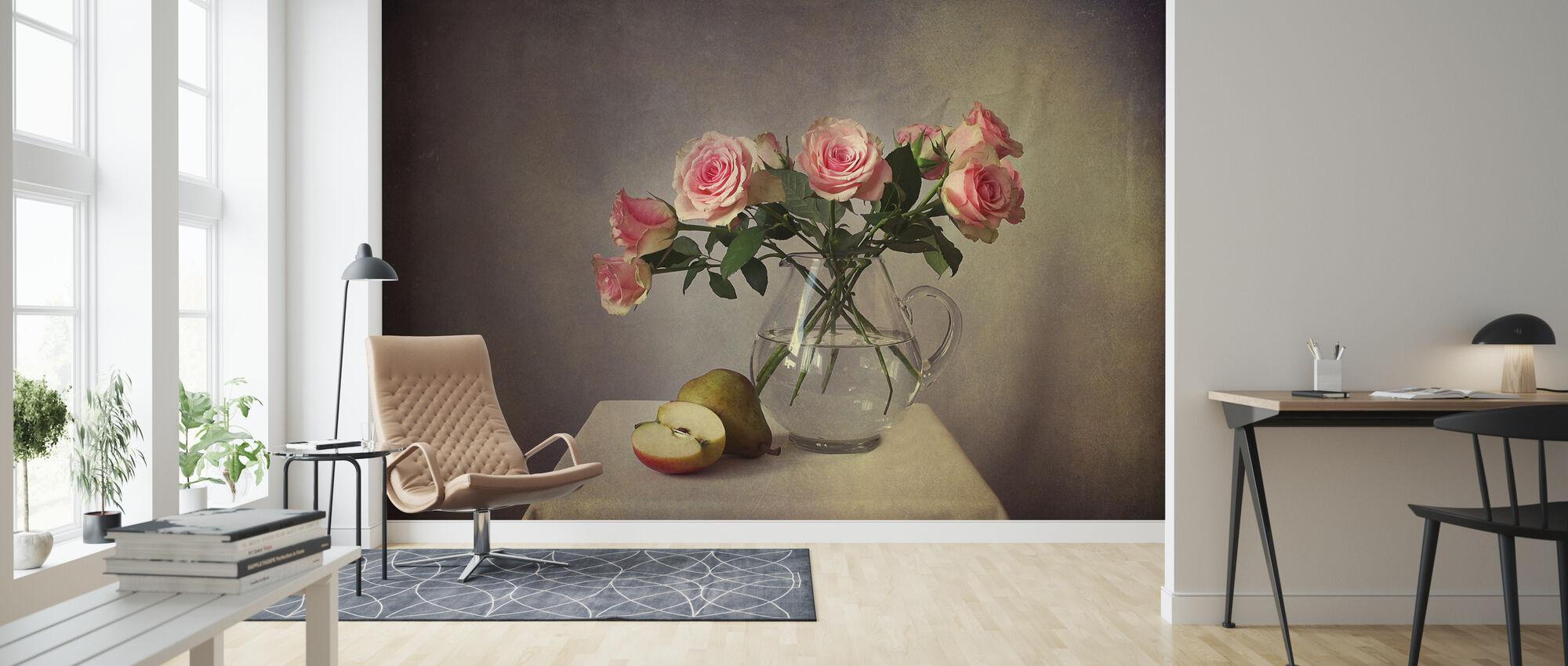 Stilleven met rozen - Behang - Woonkamer