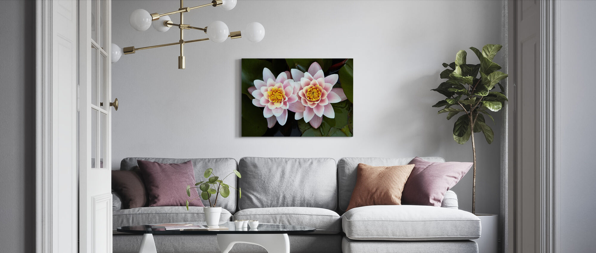 Pair of Water Lilies - Canvas print - Living Room