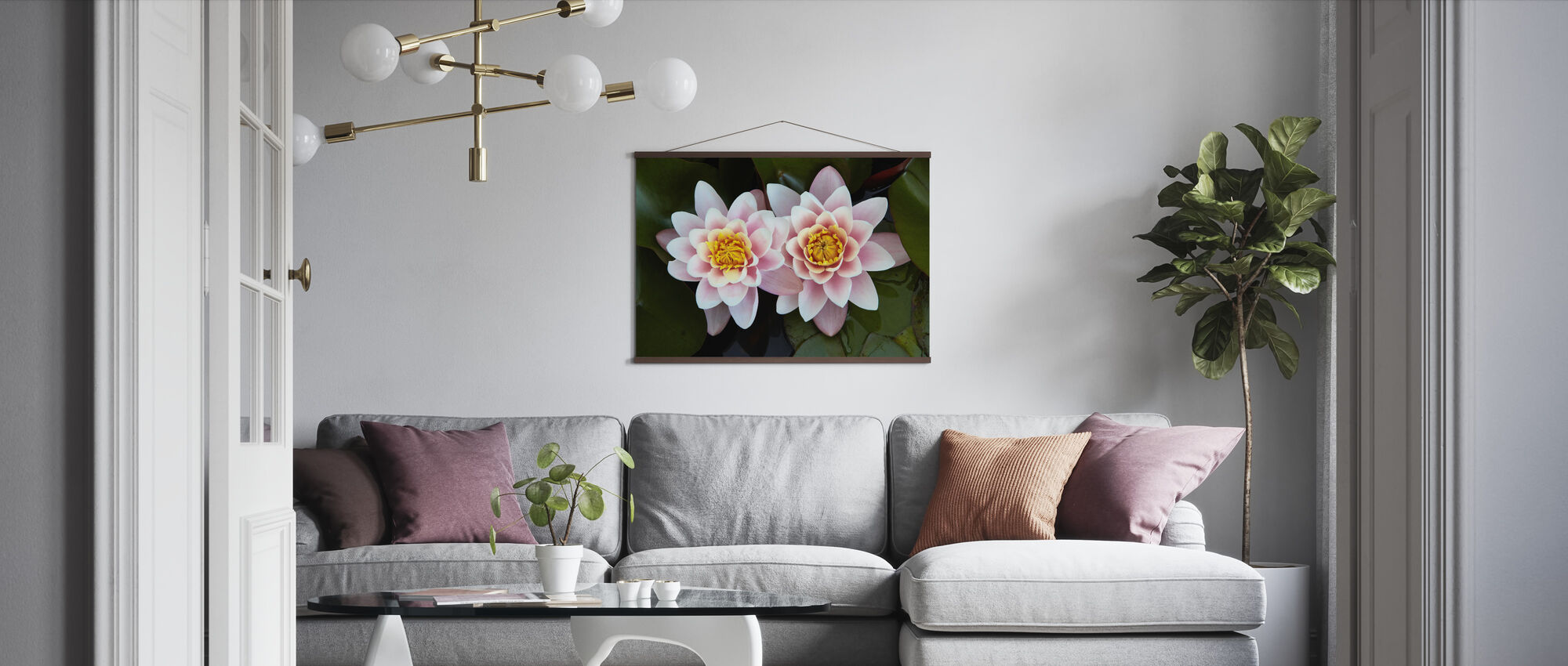 Pair of Water Lilies - Poster - Living Room