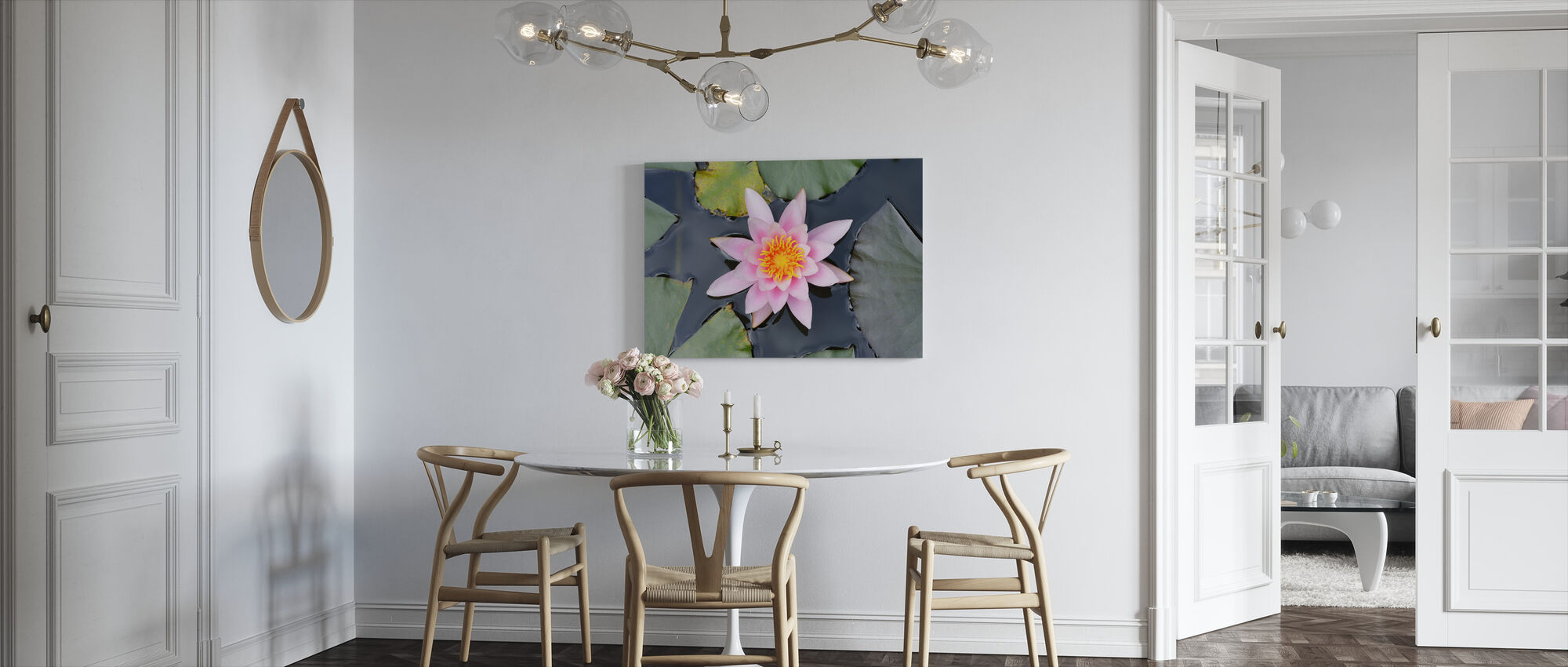 Pink Water Lily from Above - Canvas print - Kitchen