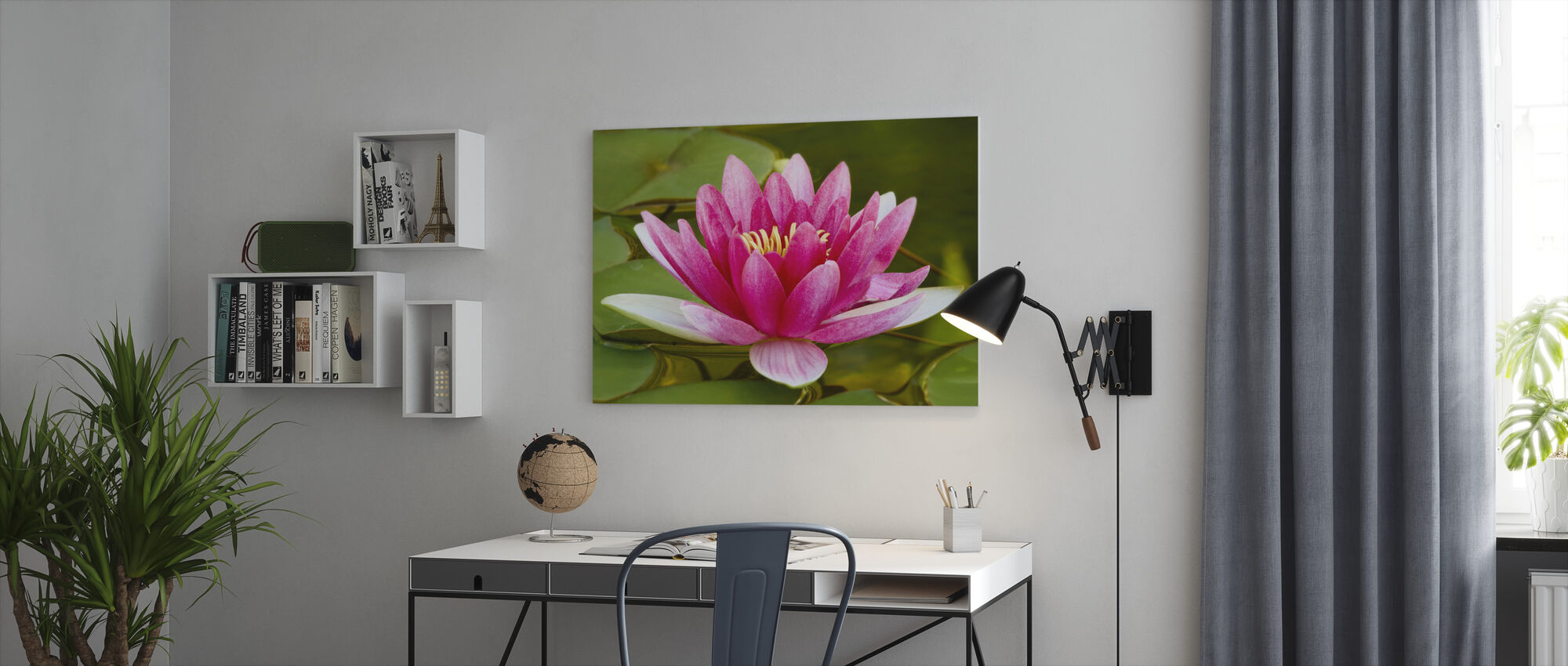 Pink Water Lily - Canvas print - Office