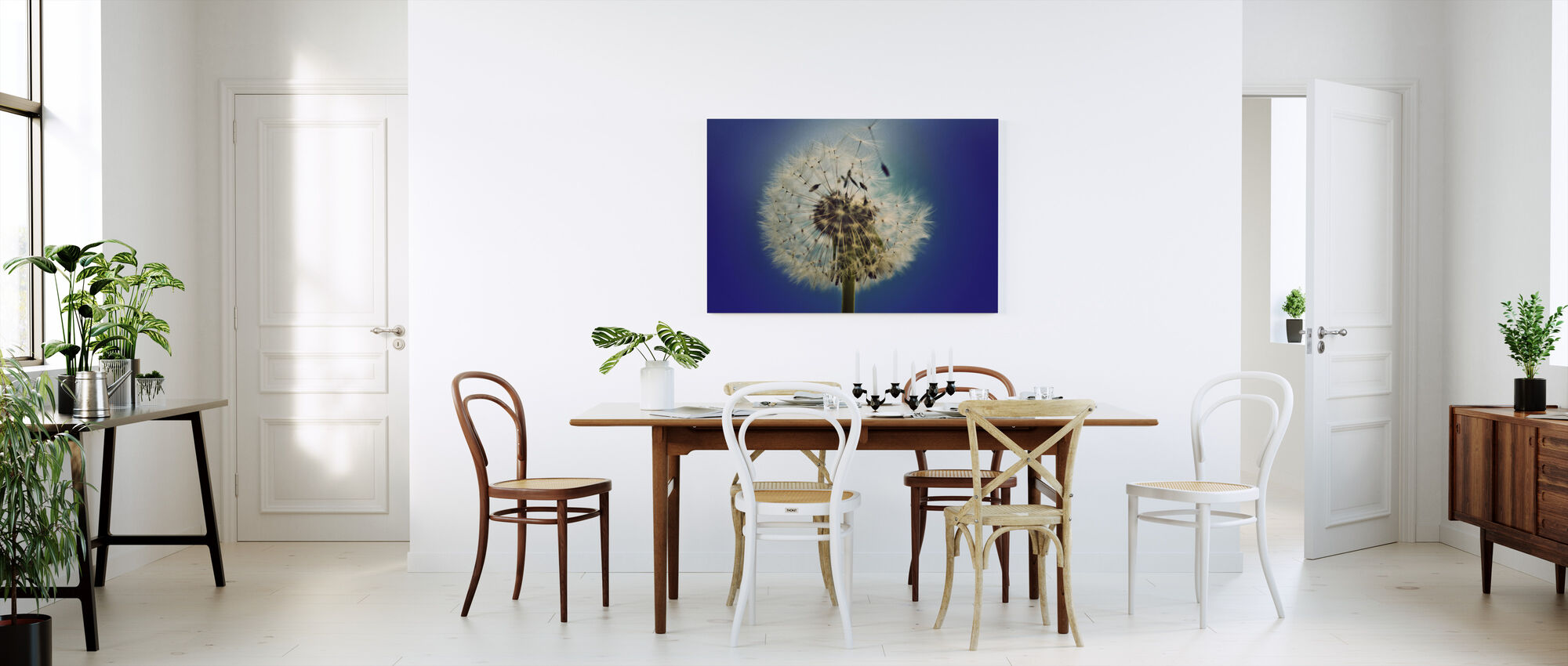 Dandelion on Blue Background - Canvas print - Kitchen