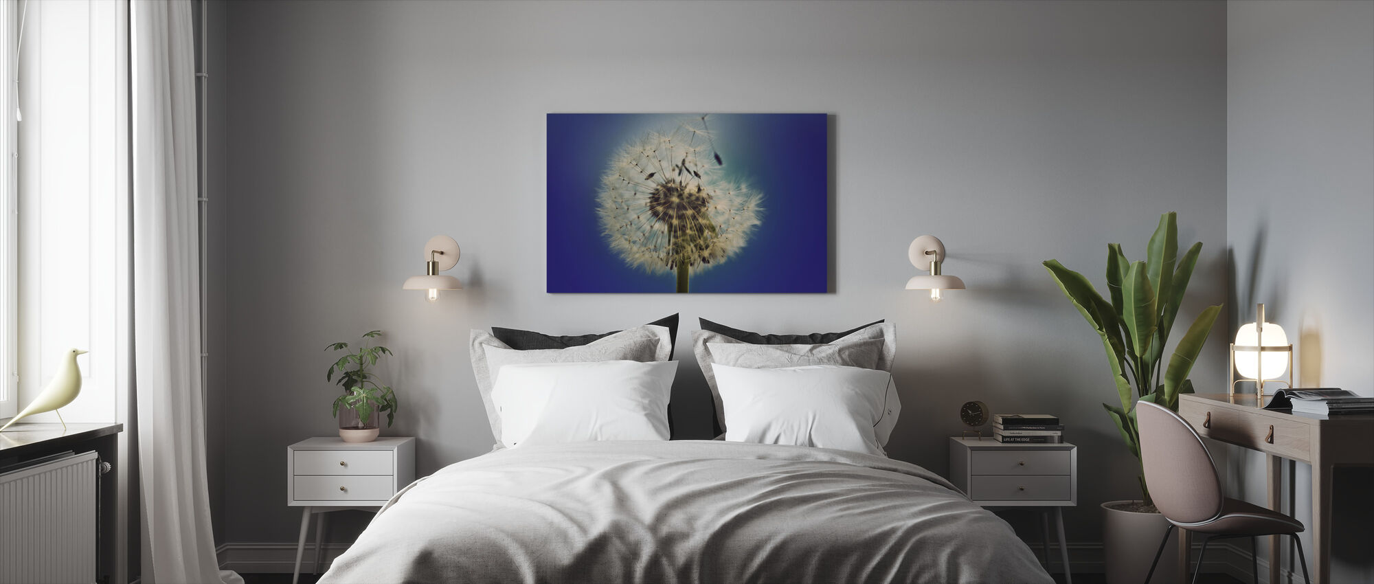 Dandelion on Blue Background - Canvas print - Bedroom