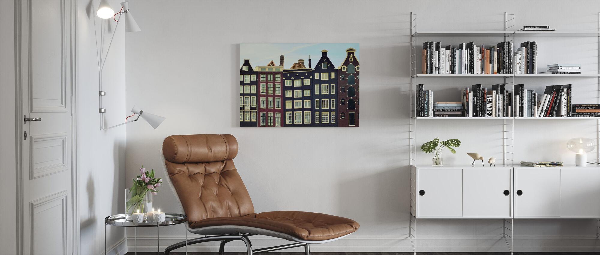 Amsterdam huse - Billede på lærred - Stue