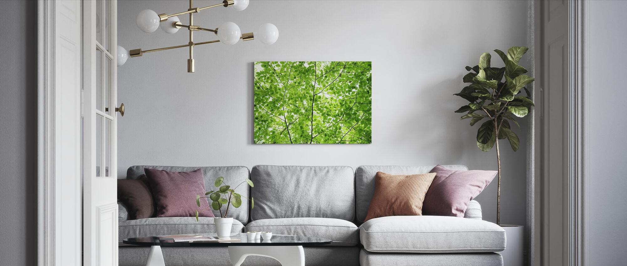 Wall of Fresh Leaves - Canvas print - Living Room