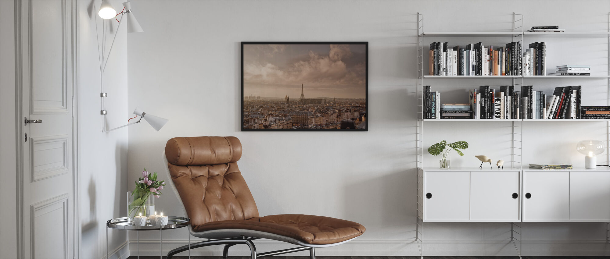 Soft Clouds Sweeping by Paris - Framed print - Living Room