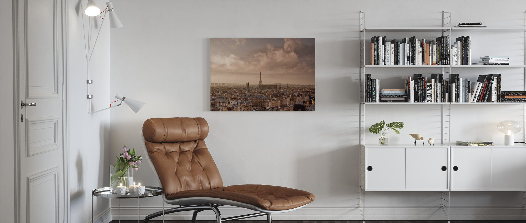 Soft Clouds Sweeping by Paris - Canvas print - Living Room