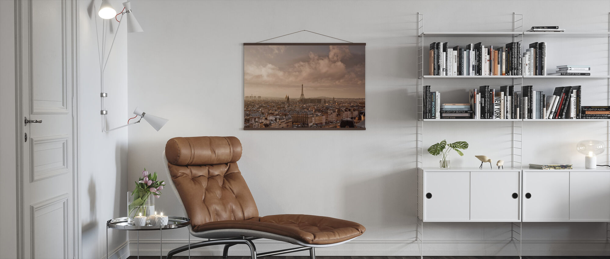 Soft Clouds Sweeping by Paris - Poster - Living Room