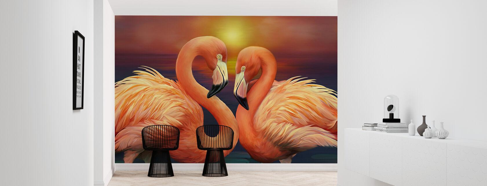 Flamingo's in de liefde - Behang - Gang