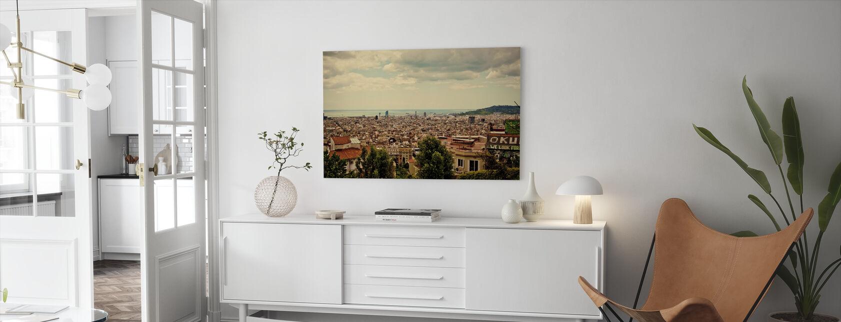 Barcelona during Golden Hour - Canvas print - Living Room