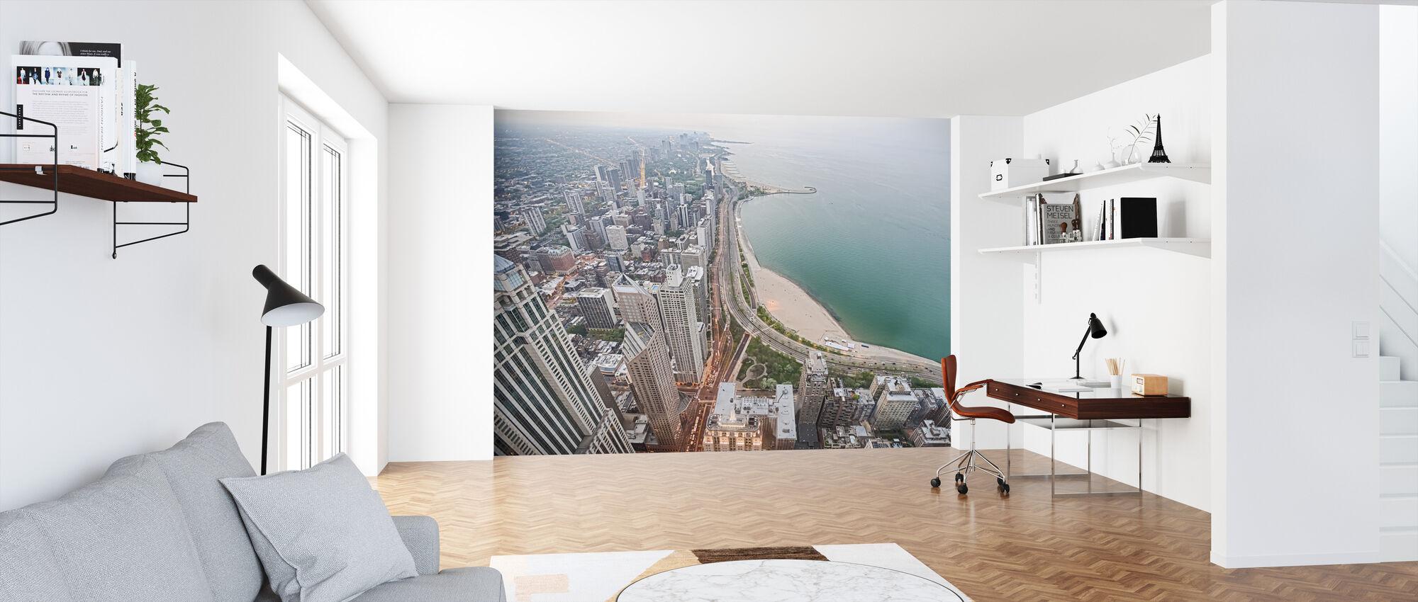 Uitzicht vanuit een wolkenkrabber in Chicago - Behang - Kantoor