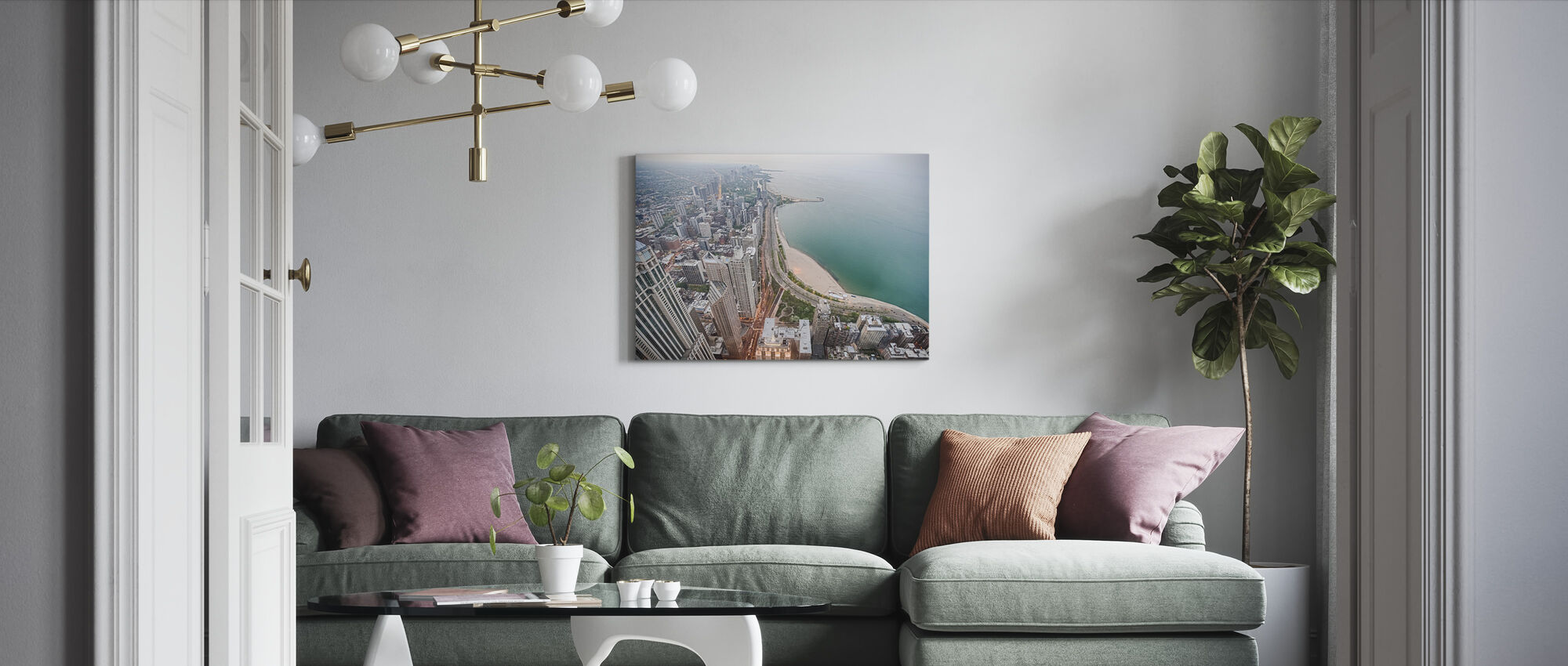 View from a Skyscraper in Chicago - Canvas print - Living Room