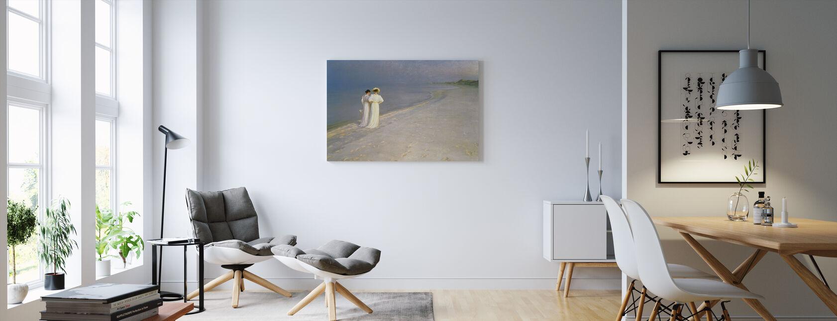 Sommarkväll på Skagens södra strand med Anna Ancher och Marie Kroyer - Peder Severin Kroyer - Canvastavla - Vardagsrum