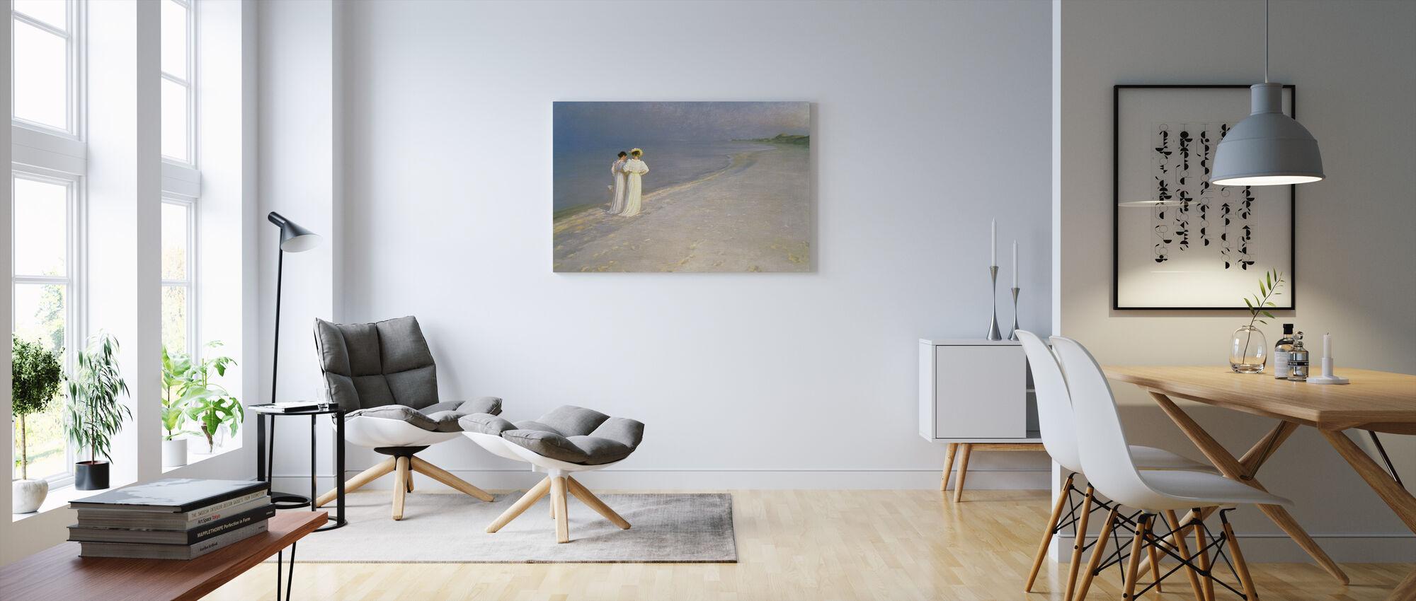 Sommeraften på Skagen Sydstrand med Anna Ancher og Marie Kroyer - Peder Severin Kroyer - Billede på lærred - Stue