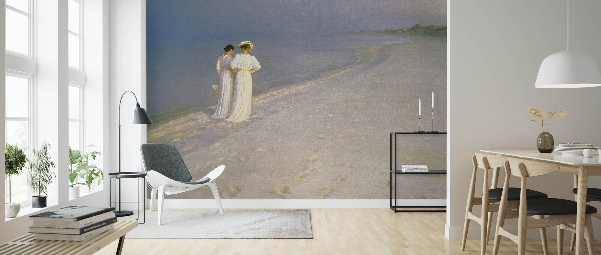 Summer Evening on the Skagen Southern Beach with Anna Ancher and Marie Kroyer - Peder Severin Kroyer - Wallpaper - Living Room