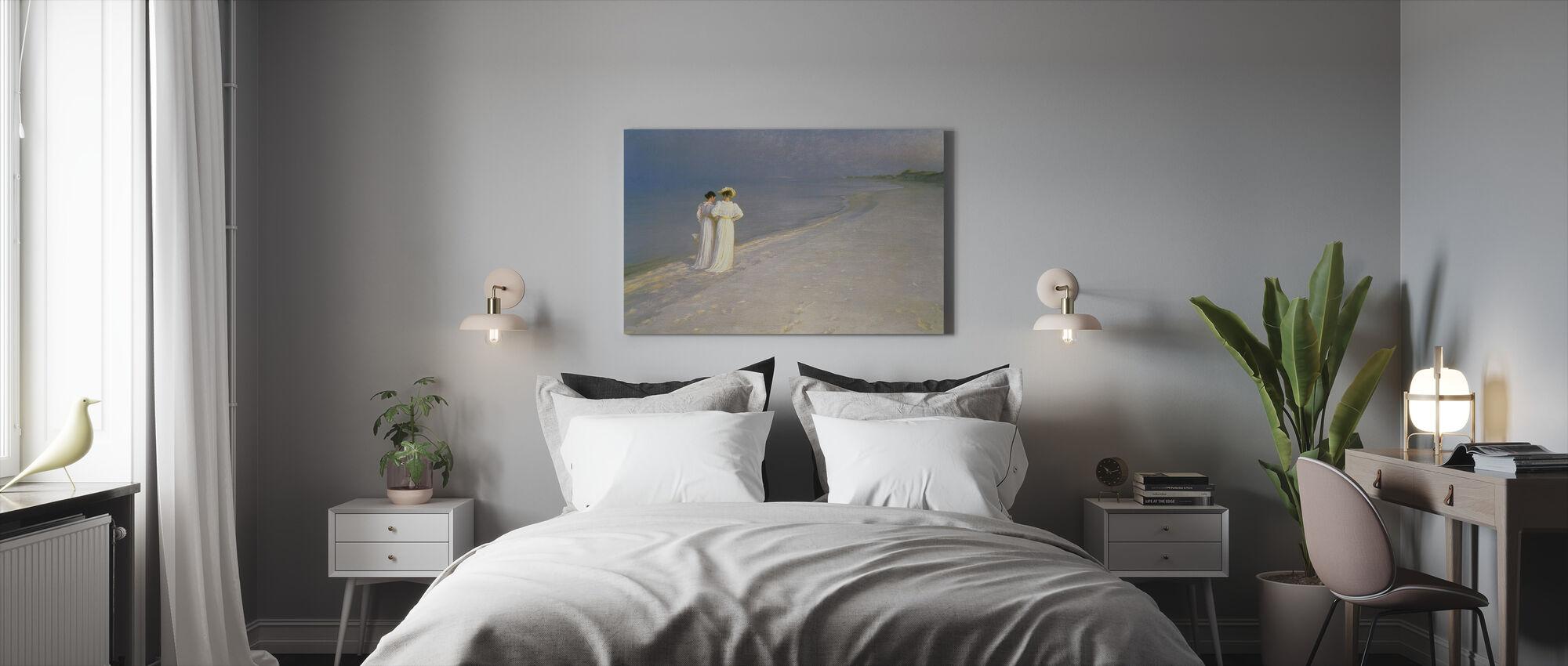 Kesäilta Skagenin etelärannalla Anna Ancherin ja Marie Kroyerin kanssa - Peder Severin Kroyerin kanssa - Canvastaulu - Makuuhuone