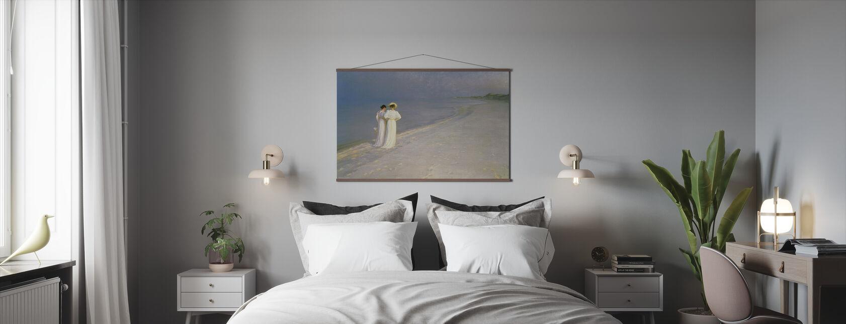 Sommarkväll på Skagens södra strand med Anna Ancher och Marie Kroyer - Peder Severin Kroyer - Poster - Sovrum