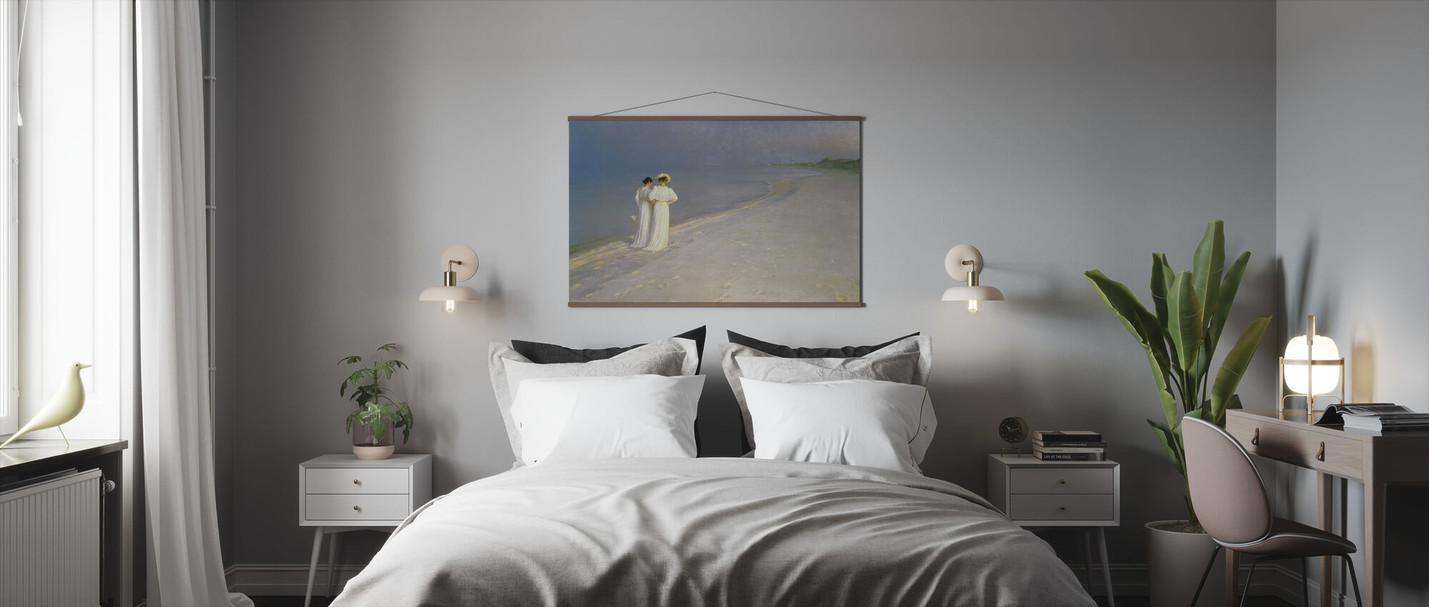 Summer Evening on the Skagen Southern Beach with Anna Ancher and Marie Kroyer - Peder Severin Kroyer - Poster - Bedroom