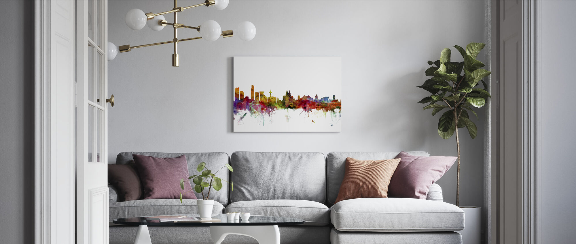 Liverpool Skyline - Canvas print - Living Room