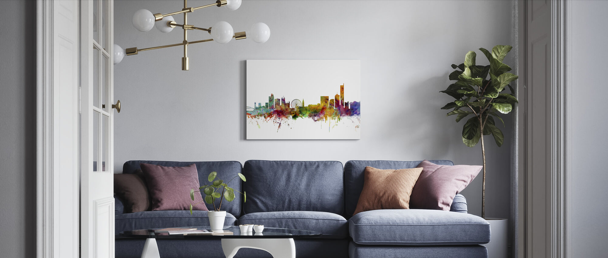 Manchester Skyline - Canvas print - Living Room