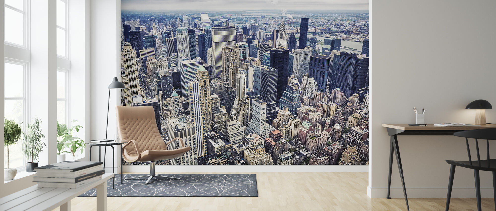 Aerial View of Manhattan - Wallpaper - Living Room