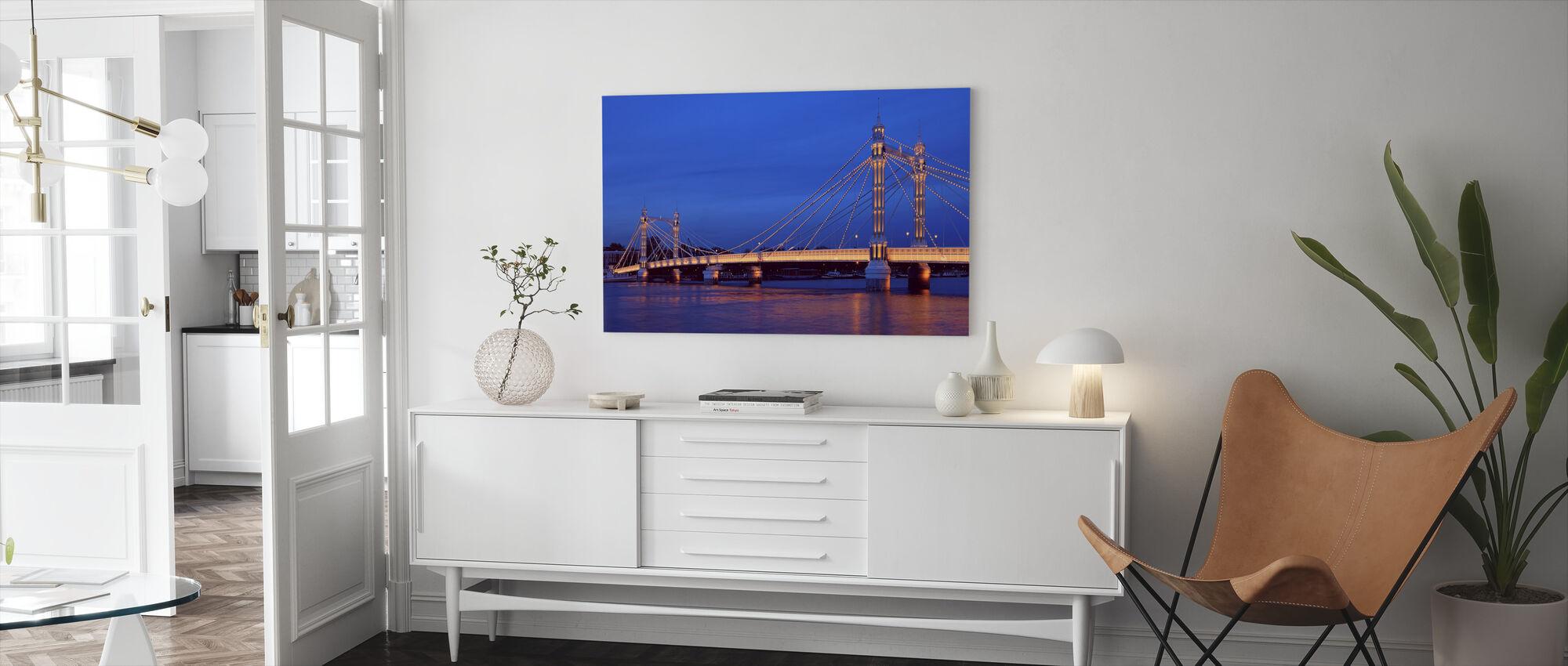 Albert Bridge in London Illuminated - Canvas print - Living Room