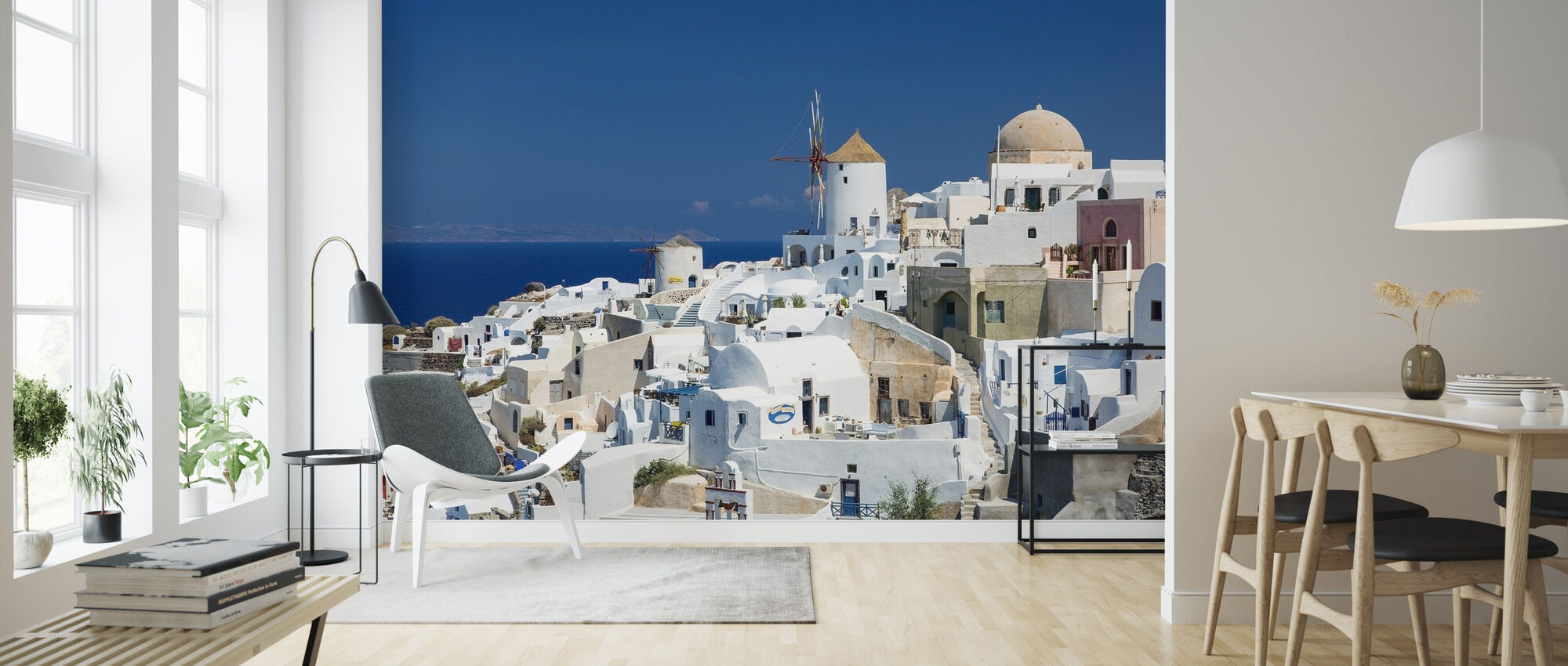 White Houses and Azure Blue Sea in Greece - Wallpaper - Living Room
