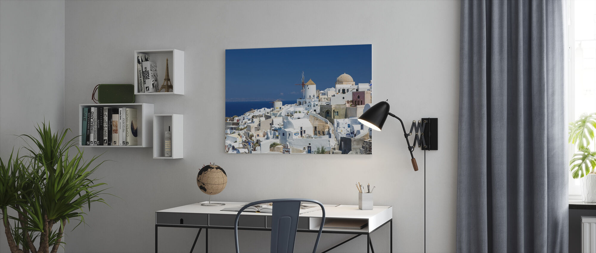White Houses and Azure Blue Sea in Greece - Canvas print - Office