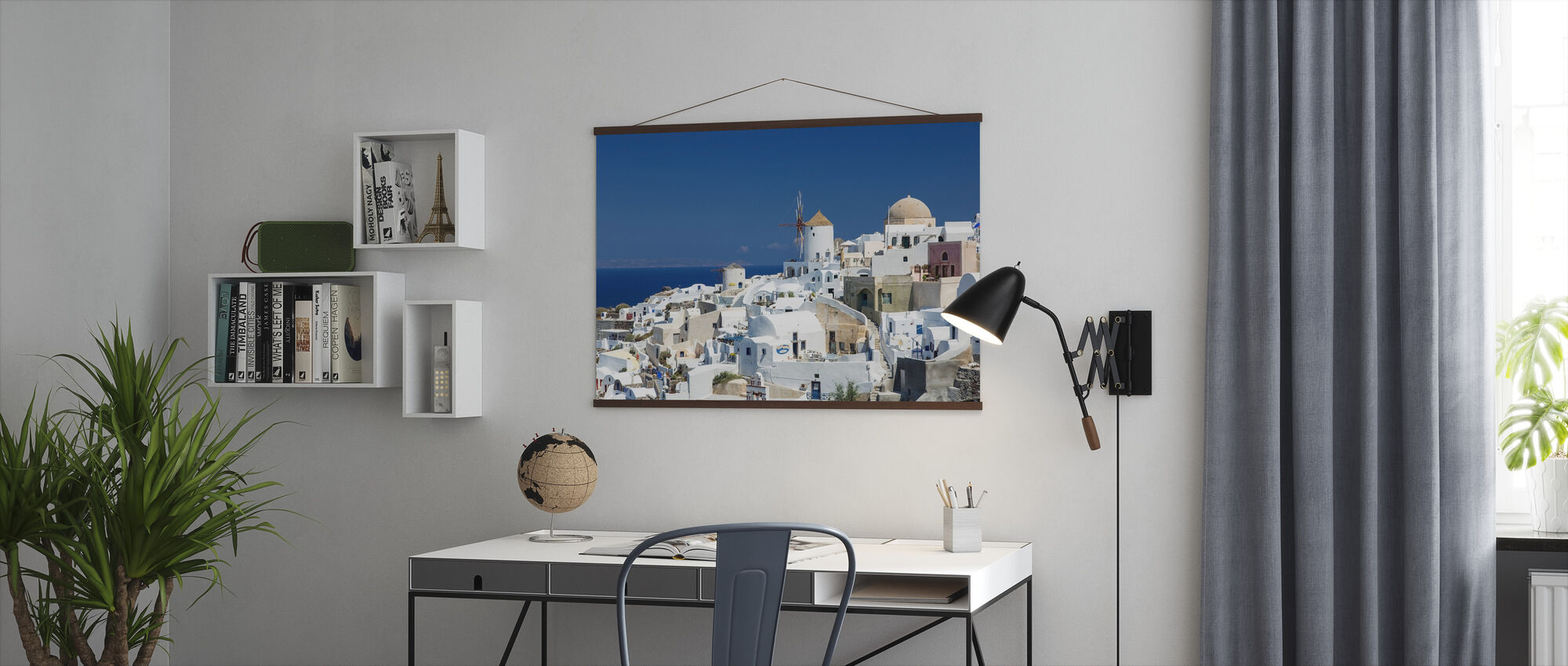 White Houses and Azure Blue Sea in Greece - Poster - Office