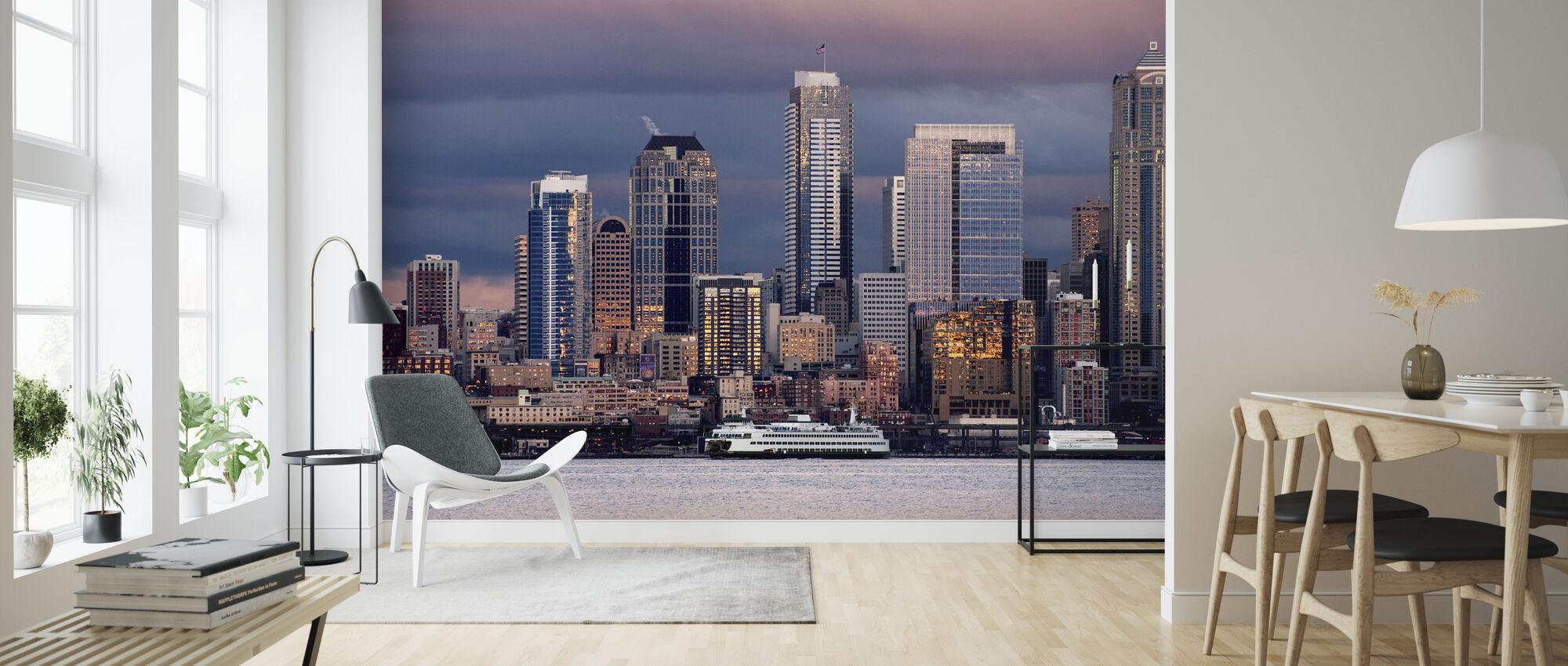 Seattle Silhouette - Wallpaper - Living Room