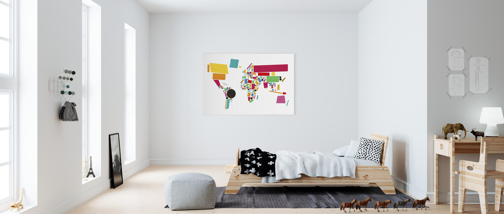 abstract world map squares 2 impression sur toile en ligne pas cher photowall. Black Bedroom Furniture Sets. Home Design Ideas