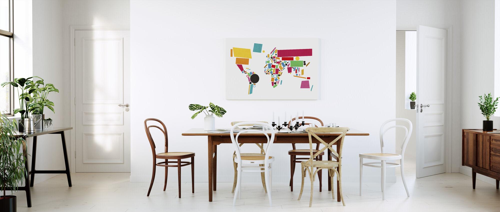 Cartes du monde abstraites carrés 2 - Impression sur toile - Cuisine