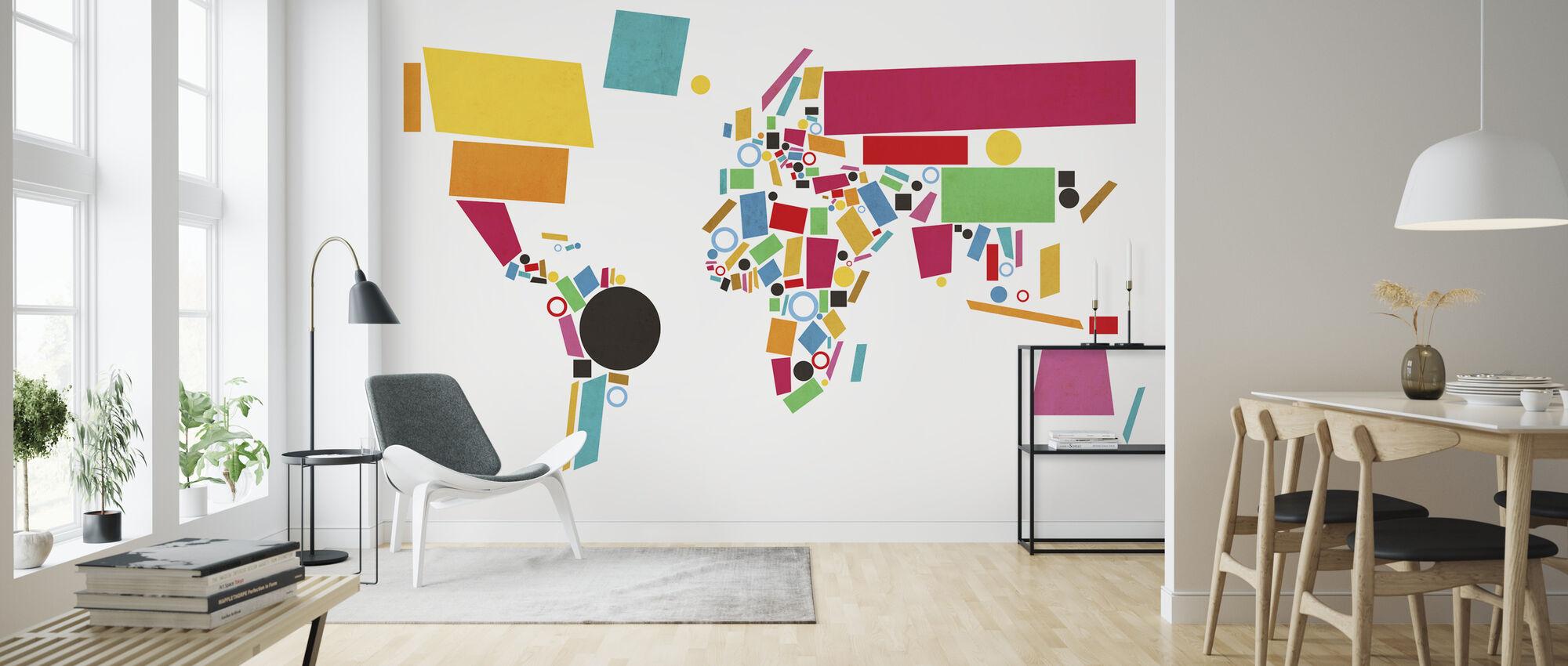 Abstract Wereld Kaart Vierkanten 2 - Behang - Woonkamer