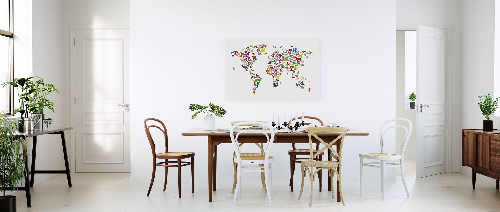 Dogs World Map Multicolor - Canvas print - Kitchen