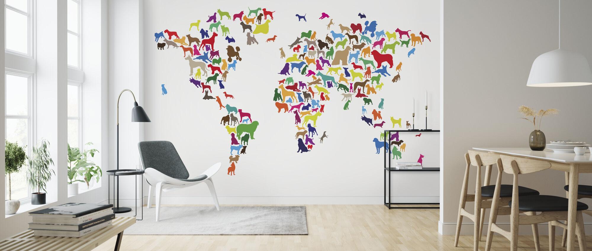 Hundar World Karta Multicolor - Tapet - Vardagsrum