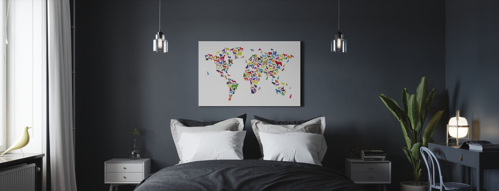Dogs World Map Multicolor - Canvas print - Bedroom