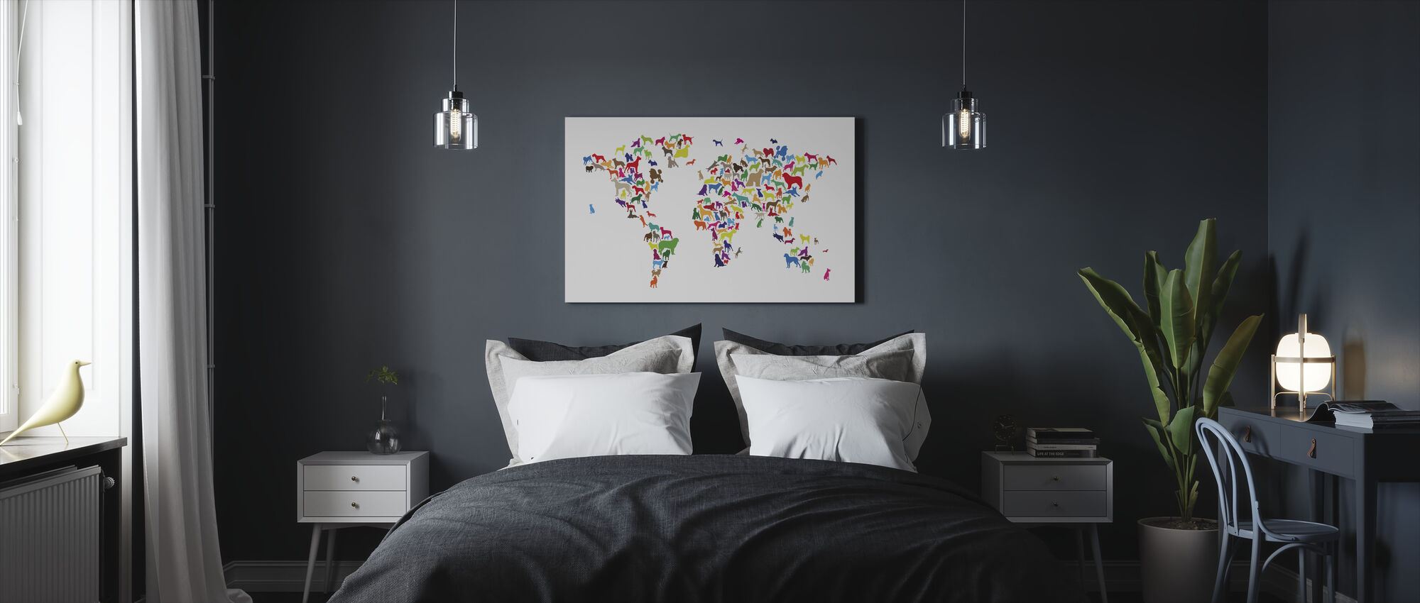 Hunder World Map Multicolor - Lerretsbilde - Soverom