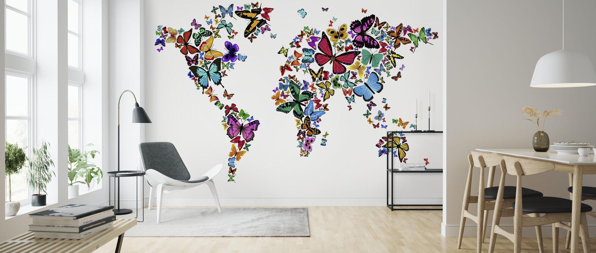 Large Butterflies World Map - Wallpaper - Living Room