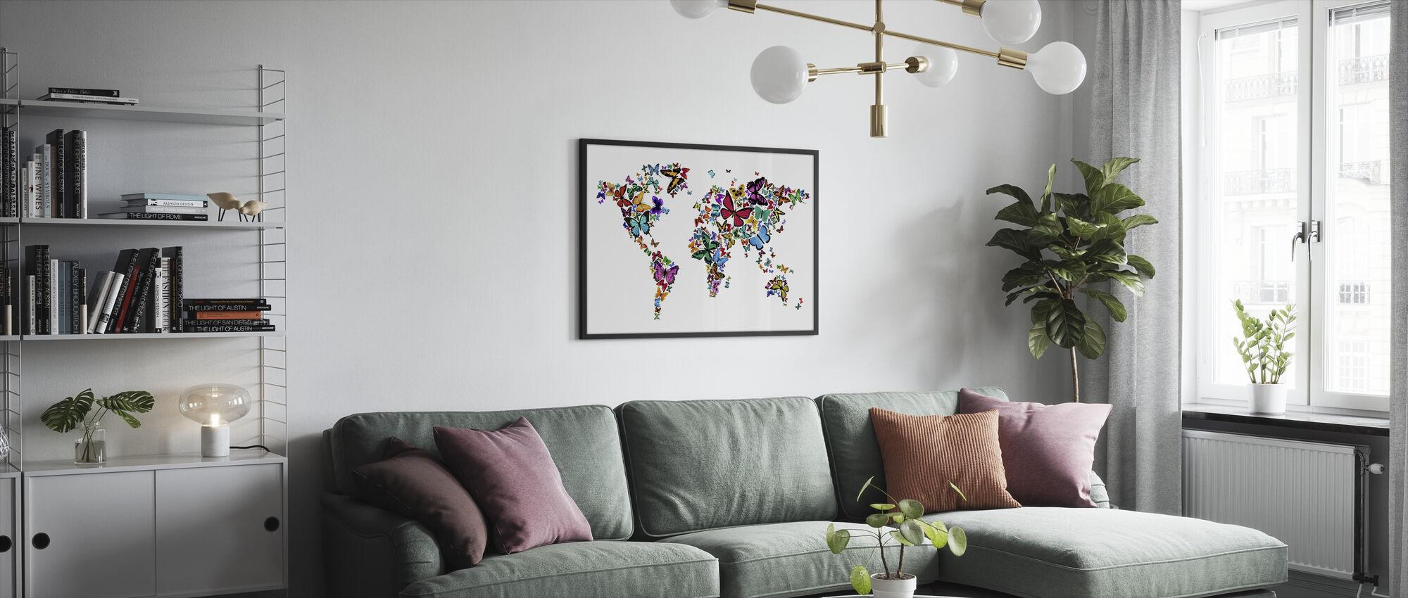 Store Butterflies World Map - Innrammet bilde - Stue