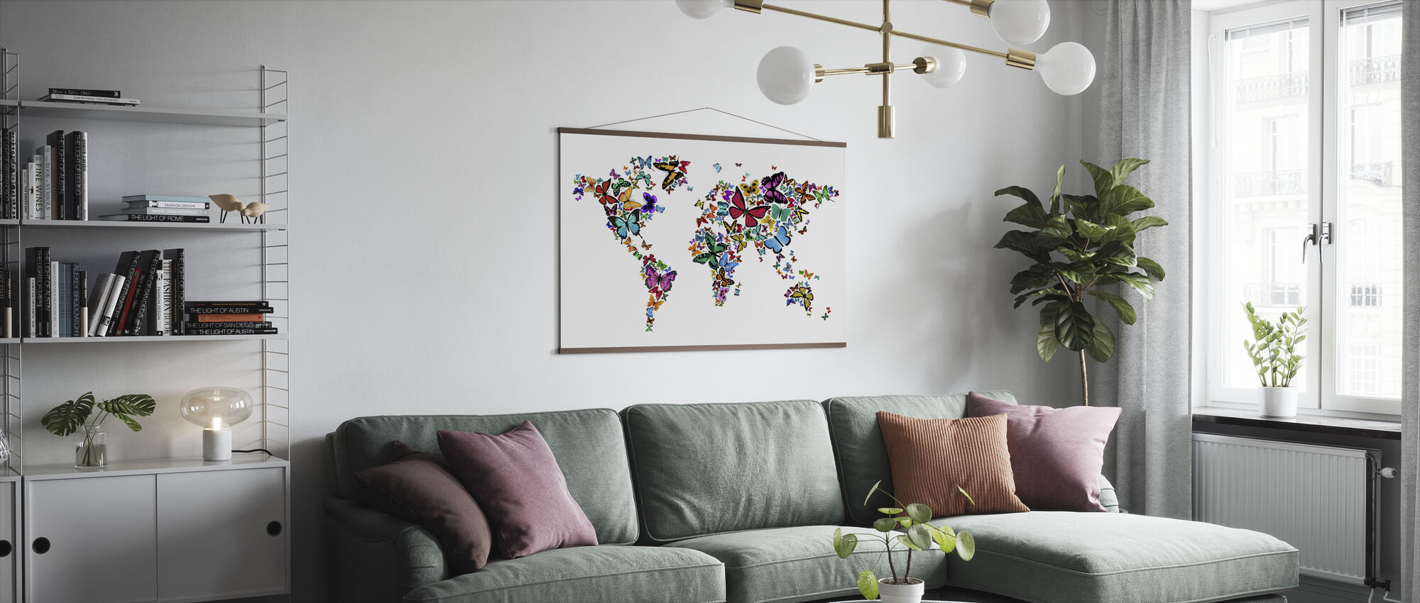 Large Butterflies World Map - Poster - Living Room