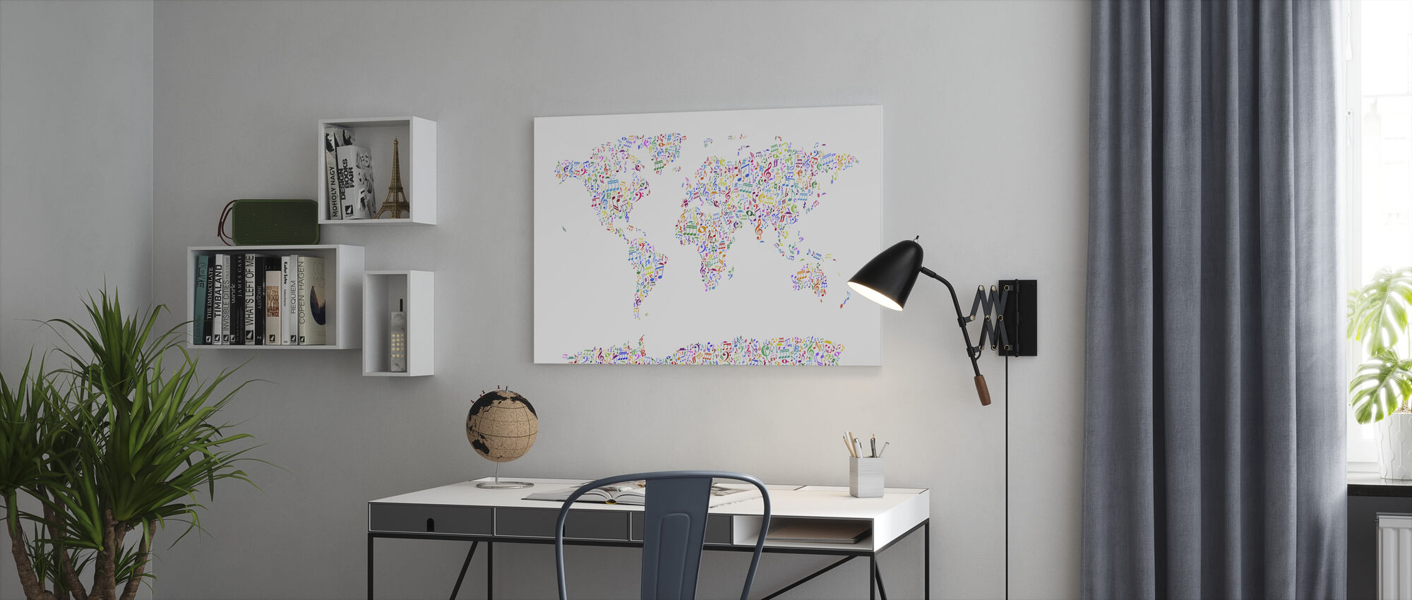 Music Notes World Map Color - Canvas print - Office
