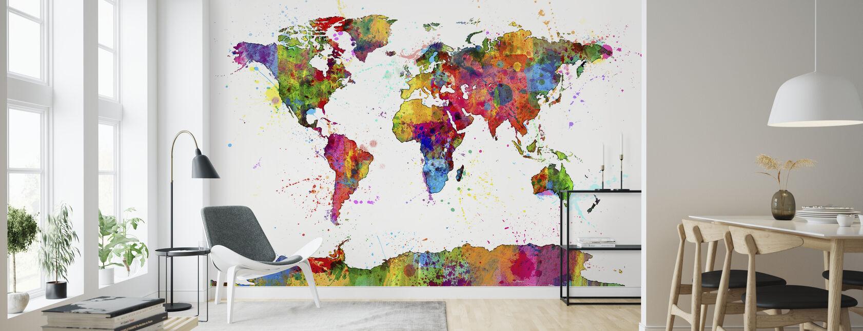 Paint Splashes Map 2 - Wallpaper - Living Room