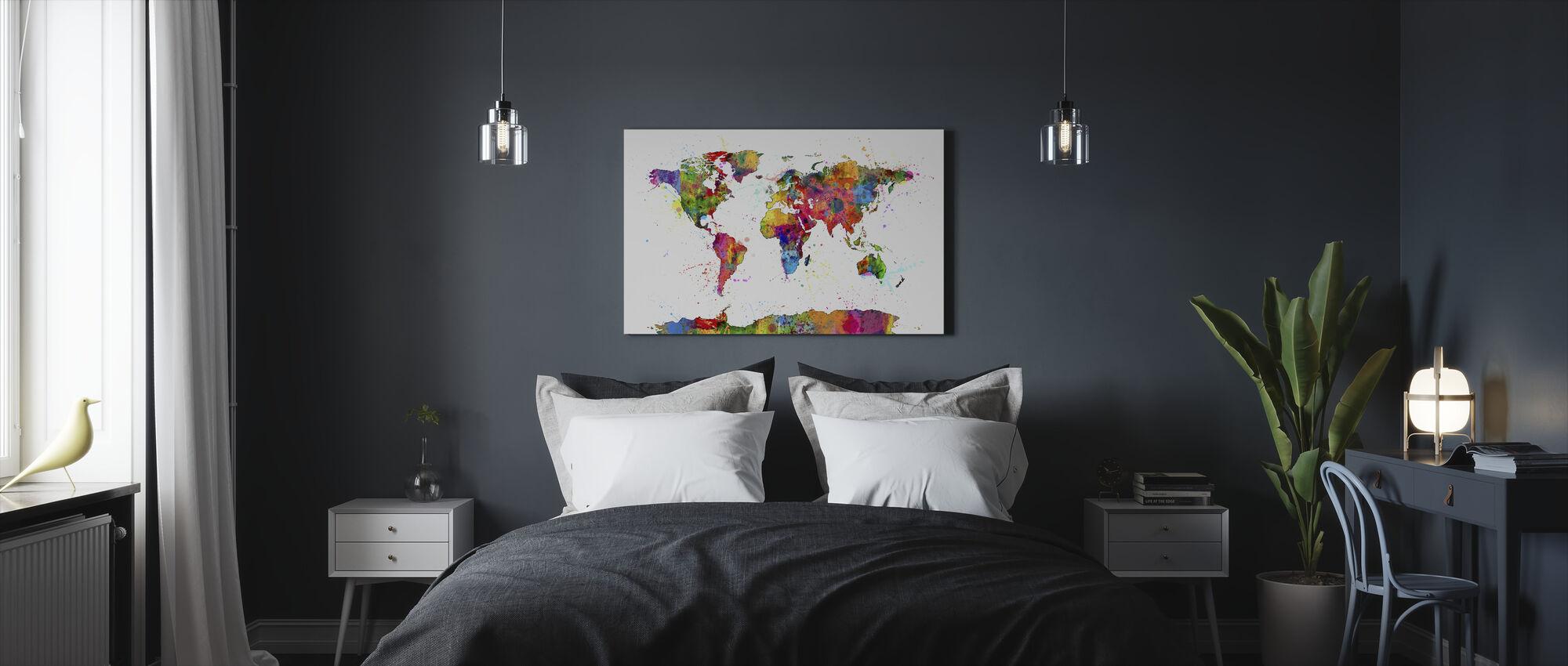 Spatten Map 2 schilderen - Canvas print - Slaapkamer