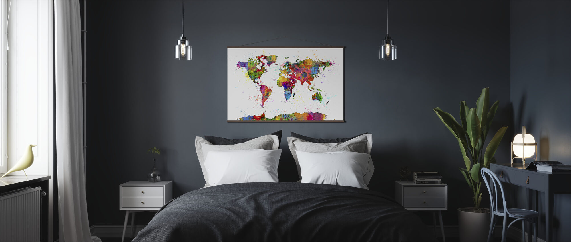 Paint Splashes Map 2 - Poster - Bedroom