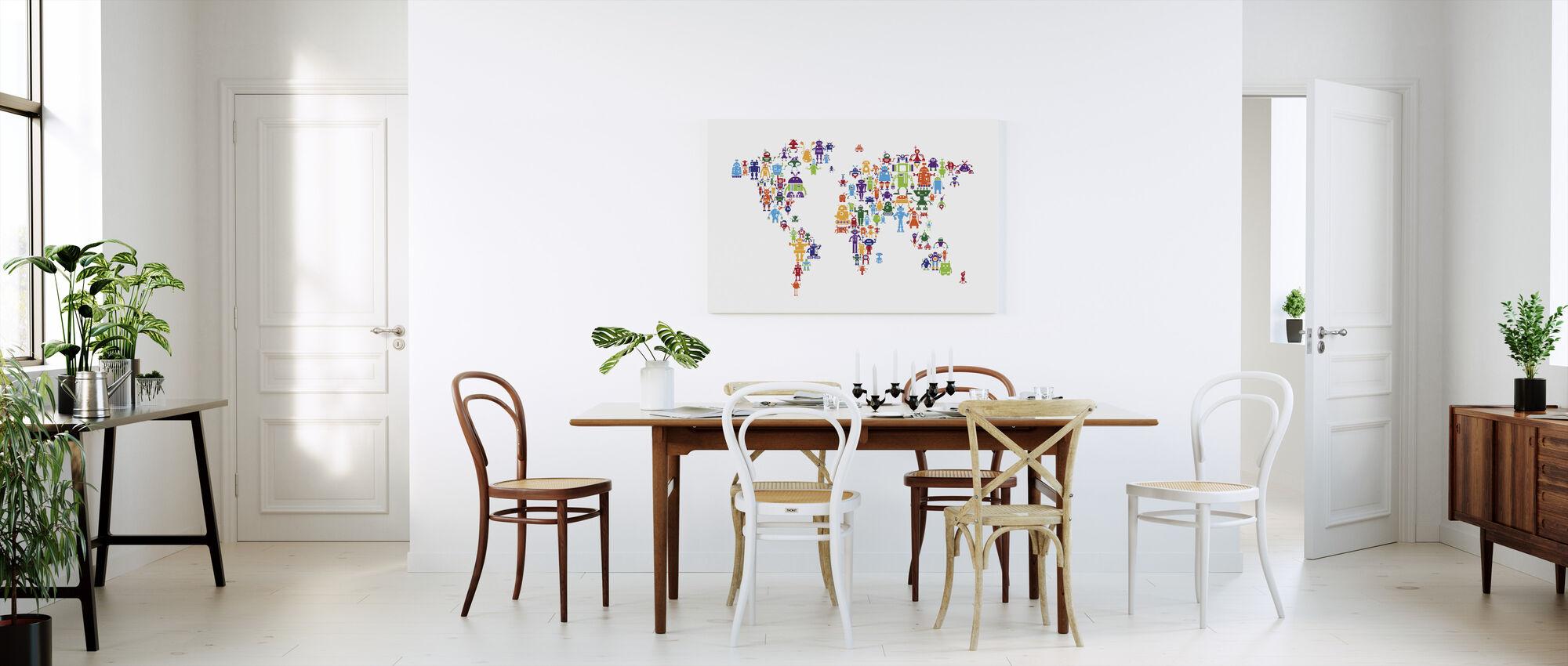 Carte du monde Robots - Impression sur toile - Cuisine